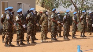 The United Nations-African Union peacekeeping mission in Sudan's Darfur region (UNAMID) hands over its sector headquarters to the Sudanese government in Khor Abachi, north of Nyala capital of South Darfur State, on February 15, 2021. (AFP)