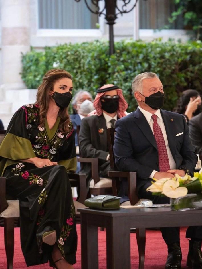 الملكة رانيا برفقة عبدالله الثاني ملك الأردن