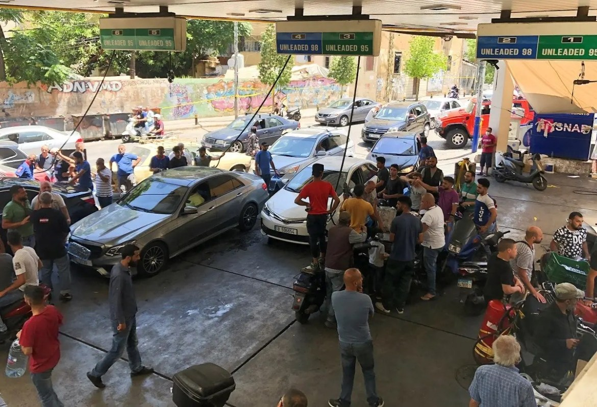 Cars queue for fuel at a gas station in Beirut, Lebanon June 17, 2021. (Reuters)