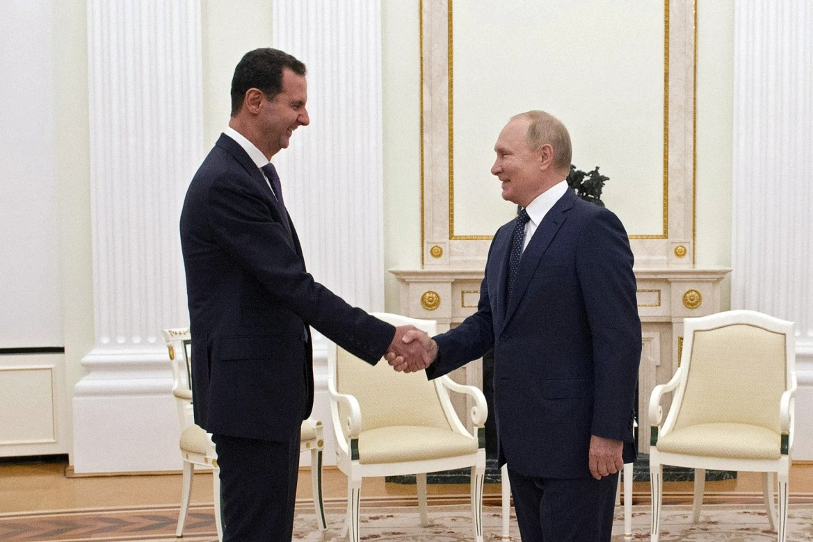 Russian President Vladimir Putin attends a meeting with Syrian President Bashar al-Assad at the Kremlin in Moscow, Russia, September 13, 2021. Picture taken September 13, 2021. (Reuters)
