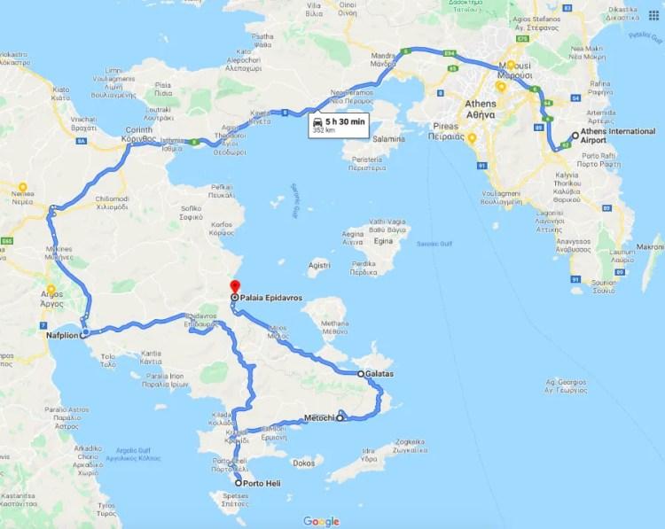 Athens to Nafplio map
