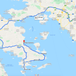 Athens to Nafplio map