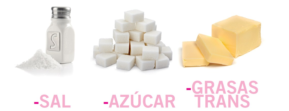 Sal, azúcar y grasas trans