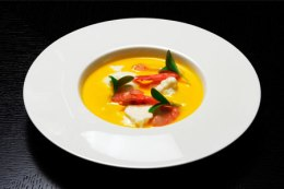 SANREMO PRAWNS, YELLOW PEPPERS, AND BUFFALO MOZZARELLA