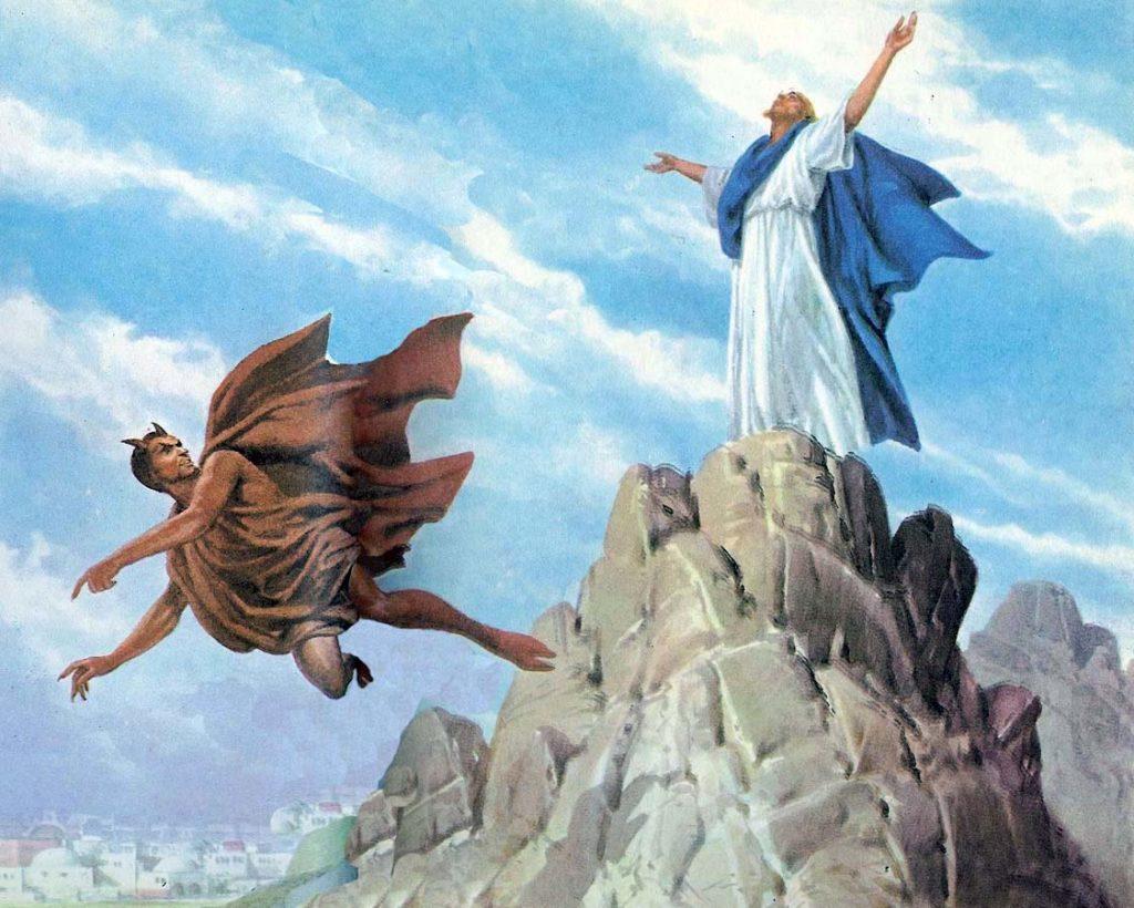 Resultado de imagem para Jesus e o Diabo nas tentacões do deserto