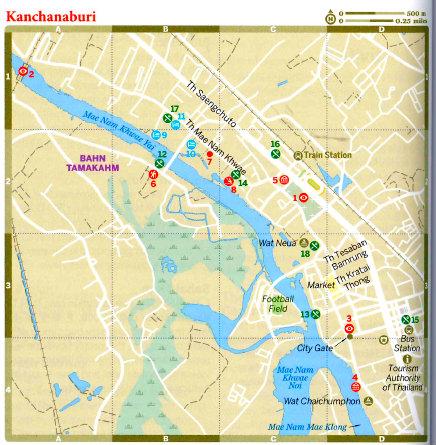 Thailand Kanchanaburi Mapa Vida de Tsuge VDT