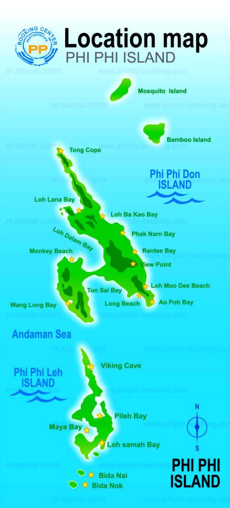 Thailand - Koh Phi Phi - Mapa Koh Phi Phi Island - Vida de Tsuge - VDT