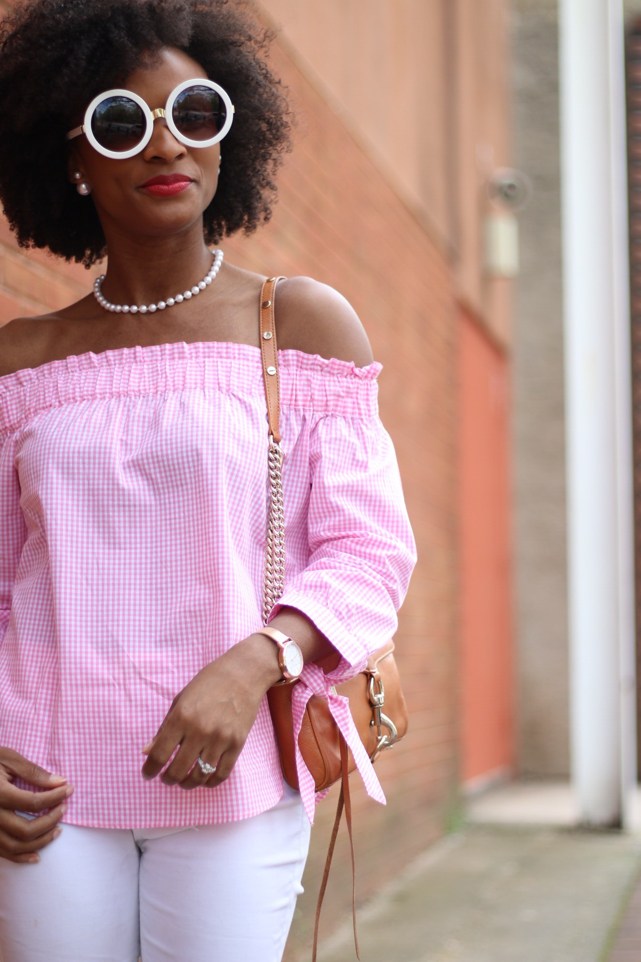 Pink Gingham OTS Top