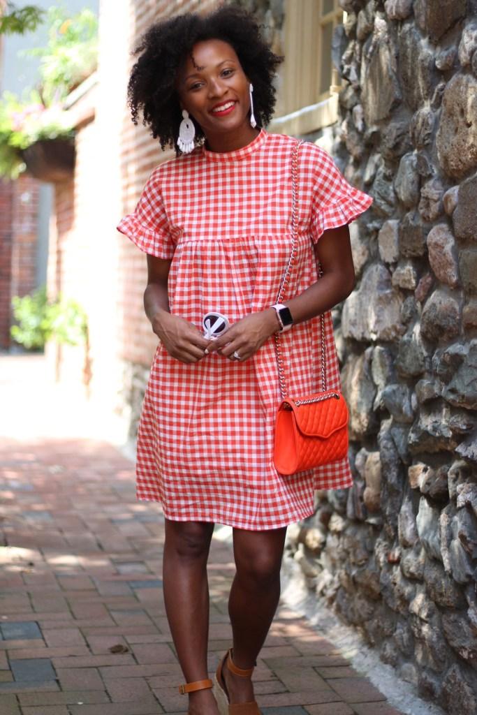 Orange Gingham Dress3