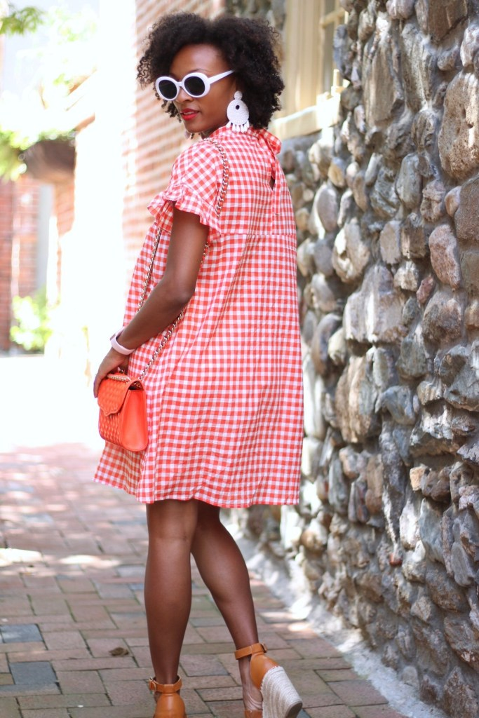 Orange Gingham Dress4