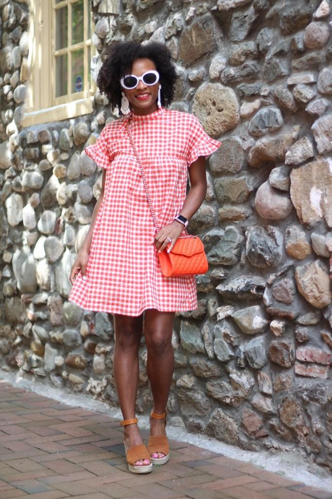 Orange Gingham Dress8
