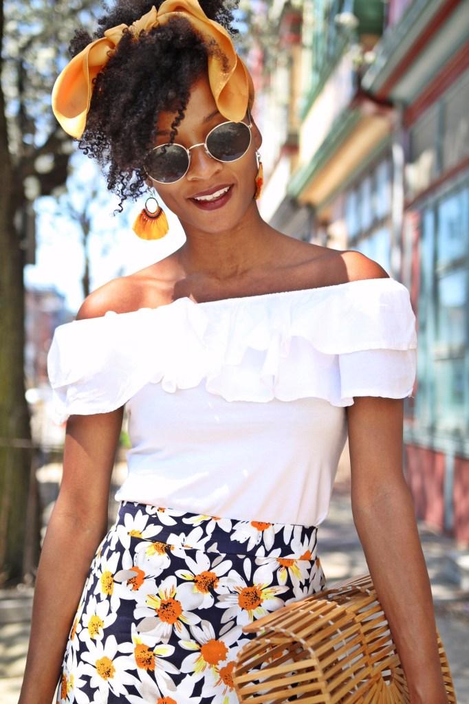 Daisy Print Skirt3
