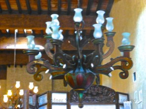 Huge wooden chandeliers in the lobby