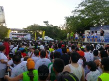 View of the starting line and the runners