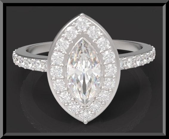 Unique Marquise Diamond Halo Engagement Ring  Vidar Jewelry  Unique Custom Engagement And