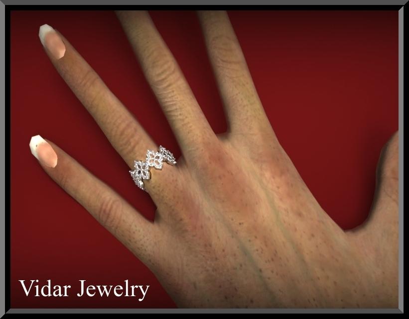 Flower Diamond Wedding Band  Halo  UNIQUE Pave WeddingsLuxuryBridesEternity  Vidar