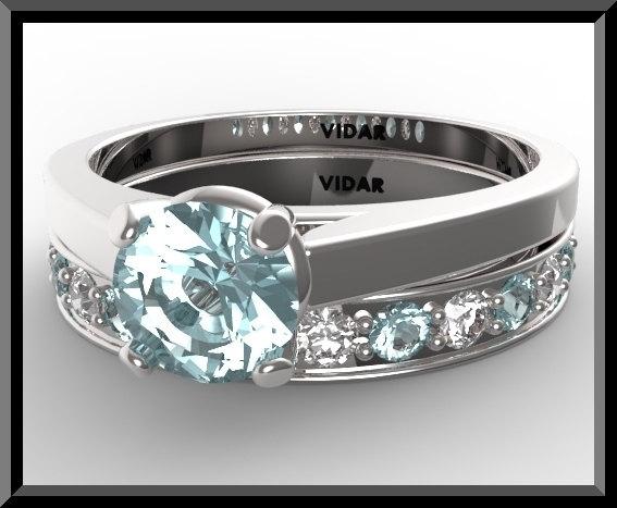 Aquamarine Wedding Ring Set Vidar Jewelry Unique