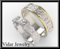 Unique His and Hers Two Tone Gold Wedding Ring Set | Vidar ...