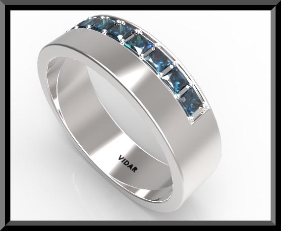 Mens Blue Sapphire Wedding Band Vidar Jewelry Unique