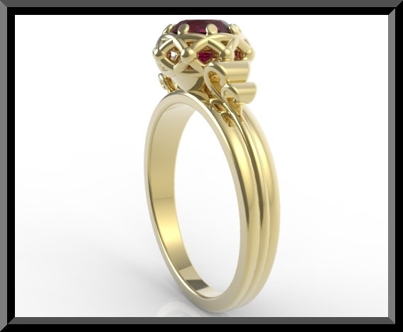 Yellow Gold Ruby Engagement Ring