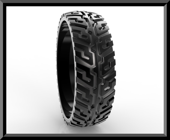 Unique Tire Tread Wedding Band For Him Black Gold Rings
