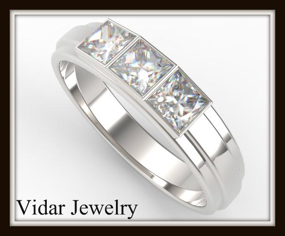 Princess Cut Diamond Wedding Band For Women Vidar
