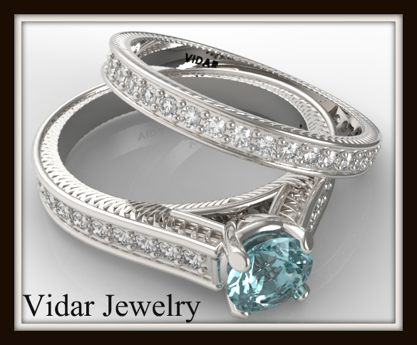 Blue Diamond Wedding Ring Set  Vidar Jewelry  Unique Custom Engagement And Wedding Rings
