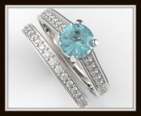 Blue Diamond Wedding Ring Set   Vidar Jewelry - Unique ...