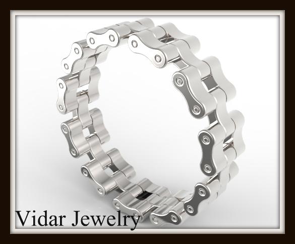 Bike Chain Wedding Band Vidar Jewelry Unique Custom