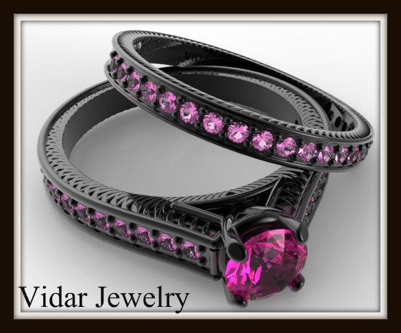 Black Gold Bridal Ring Set Vidar Jewelry Unique Custom