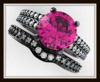 Diamond & Pink Sapphire Engagement Ring Wedding set-Double ...