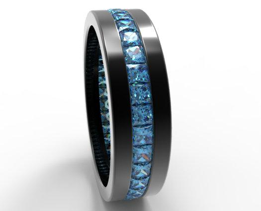 Black Gold Princess Cut Blue Diamond Wedding Band For Him  Vidar Jewelry  Unique Custom