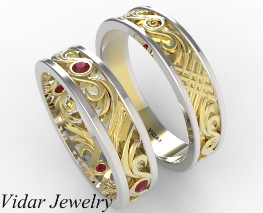 His and Hers Ruby Wedding Band Set  Vidar Jewelry  Unique Custom Engagement And Wedding Rings