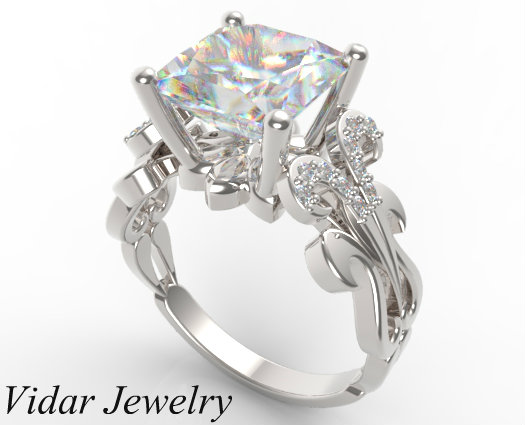 Princess Cut Diamond Engagement Ring In White Gold Vidar