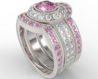Filigree Pink Sapphire And Diamond Trio Wedding Band Set ...