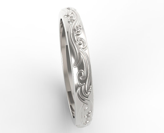 Leaves Engraved Wedding Band Vidar Jewelry Unique