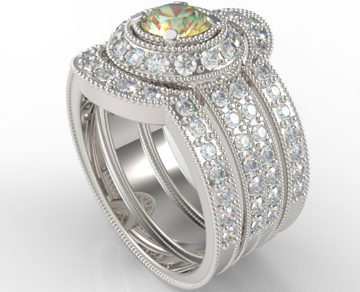 Filigree Yellow Diamond Trio Wedding Ring Set Unique Rings Vidar Jewelry Unique Custom