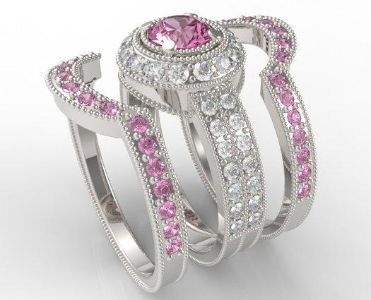 Filigree Pink Sapphire And Diamond Trio Wedding Band Set
