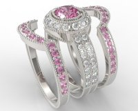 Filigree Pink Sapphire And Diamond Trio Wedding Band Set