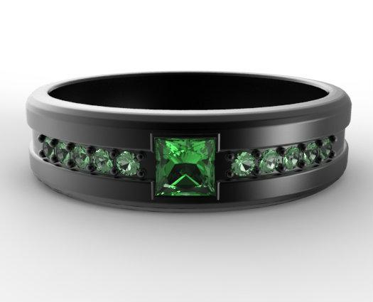 Princess Cut Emerald Black Gold Wedding Band For Him