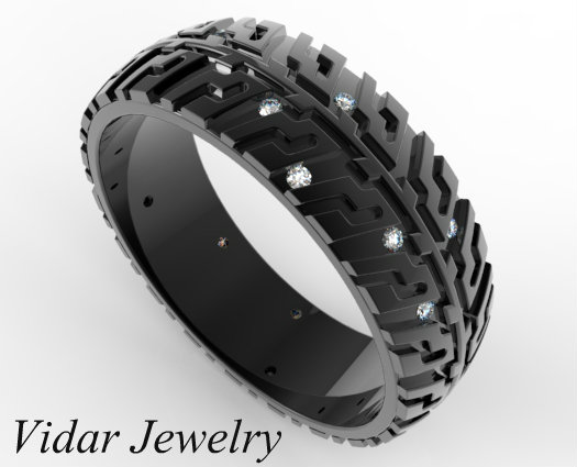 Black Gold Tire Tread Diamond Wedding Band  For Auto Fans