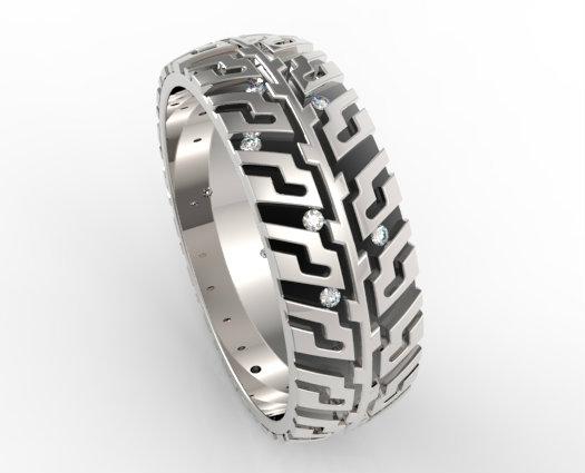 Mens Tire Tread Diamond Wedding Band Unique Design