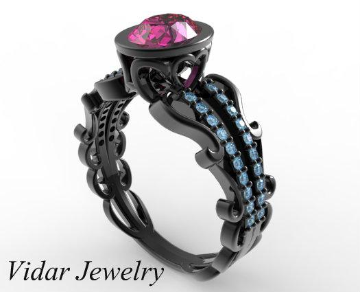 Black Gold Pink Sapphire Engagement Ring Vidar Jewelry