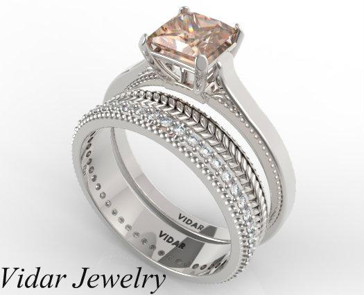 Princess Cut Morganite Wedding Ring Set  Vidar Jewelry