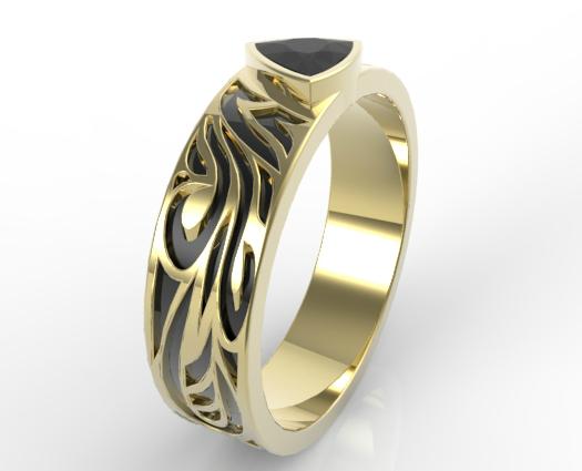 Black Diamond Trillion Cut Wedding Ring  Vidar Jewelry  Unique Custom Engagement And Wedding Rings