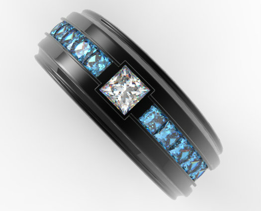 Mens Black Gold White And Blue Diamond Wedding Band