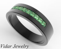 Black Gold Emerald Ring For Him - Custom Bridal Jewelry ...