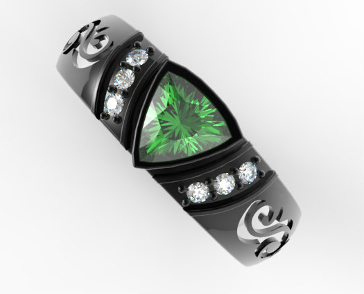 Black Gold Rings: Black Gold Rings 3 Stone Emerald