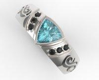 Trillion Cut Aquamarine Mens Wedding Band | Vidar Jewelry ...