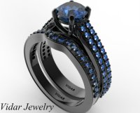 Women's Blue Sapphire Wedding Ring Set in Black Gold ...